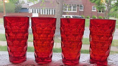 Four (4) medium ruby red Imperial PROVINCIAL ice tea  1969-1973