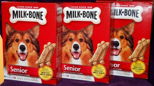 """3 BOXES"" MILK BONE SENIOR DOG BISCUITS 20 OZ.-7 & UP HEALTHY HIPS AND JOINTS"