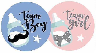 'TEAM GIRL TEAM BOY' BABY GENDER REVEAL PARTY GAME STICKERS x - Reveal Party Games