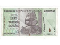 5 x 5 Billion 50 Million 200 Million Zimbabwe Dollars Banknotes AA AB 2008 15PCS