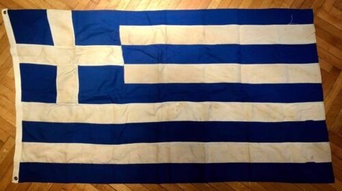 Vintage Greece Greek Cotton Flag 77x135cm, made by KOKKONIS (Athens), Very Old!