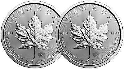 Lot of 2 - 2016 1oz Canadian Silver Maple Leaf $5 Coins .9999 Fine BU