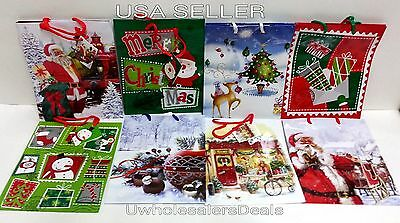 8 Christmas Gift Bags Assorted Designs with Handle & Name Tag 9x7x4  NEW](Christmas Gift Bags)