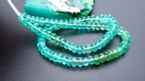 AAAAA NEW MADAGASCAR BLUE & AQUA GREEN APATITE 4.3-4.9mm FACETED RONDELLE BEADS