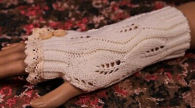 Fingerless Gloves Lace and Button Accent Leaf Pattern Knit New Colors! Lace Glove Pattern