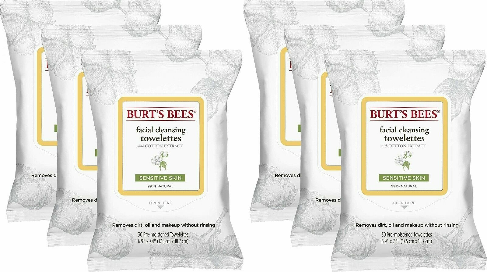 Burt's Bees Facial Wipes Towelettes Sensitive Cleansing Cotton Extract 30 Count Cleansers & Toners