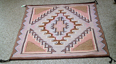 """Navajo Blue Canyon / New Lands Rug 52"""" x 36"""" c1990 Mint condition Raised Outline"""
