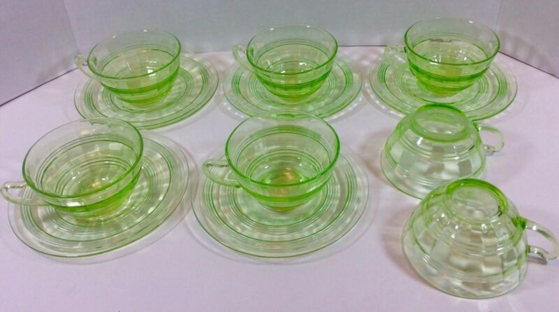 12pc Depression Glass Anchor Hocking Banded Rings Green Cups & Saucers 1927-1933