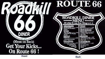 Route 66 Road Kill Dinner Menu Americas Highway T Shirts Mens Sizes   Ts66f
