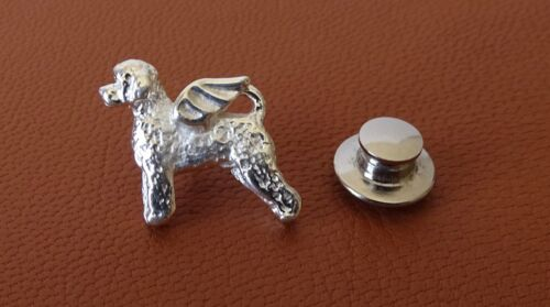Sterling Silver Portuguese Water Dog Angel Lapel Pin