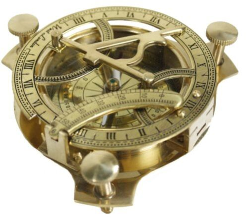 """4"""" Solid Brass Sundial Compass Pocket Fully Functioning Nautical Collection"""
