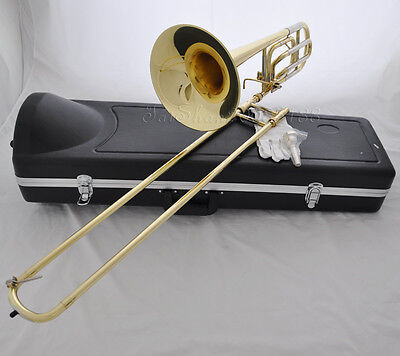 Quality Gold Tenor Bb/F Key Trigger Trombone Horn cupronickel tuningpipe W/Case for sale  Shipping to Canada