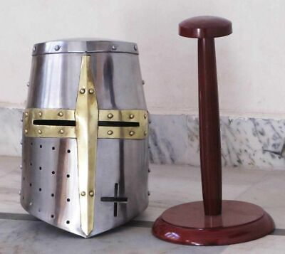 Medieval Knight Crusader Sugarloaf Armor Helmet Brass Accents ARMOUR FREE STAND