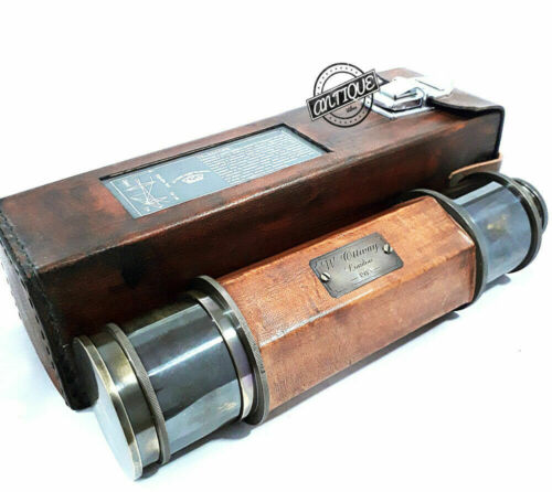NAUTICAL BRASS ANTIQUE VINTAGE VICTORIAN TELESCOPE W/ LEATHER BOX CHRISTMAS GIFT
