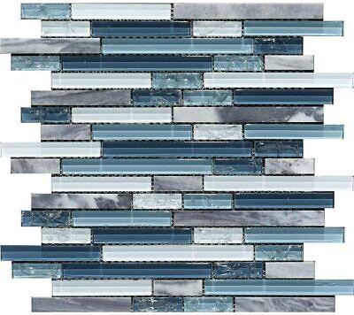 Mosaic Tile Backsplash Kitchen Bathroom Wall, Ocean Blue Glass Nature Stone