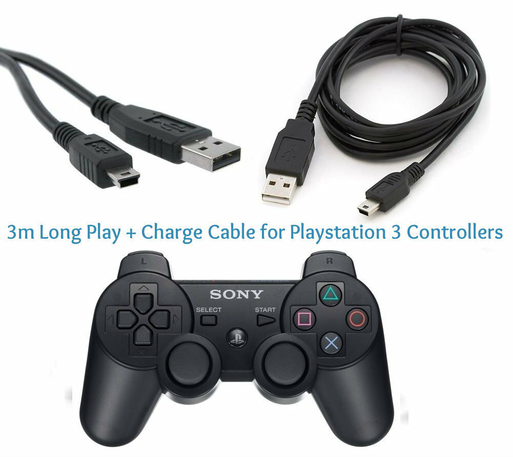 3M Long Play & Charge Cable for PS3 Controller GamePad Pad Charging Charger Lead