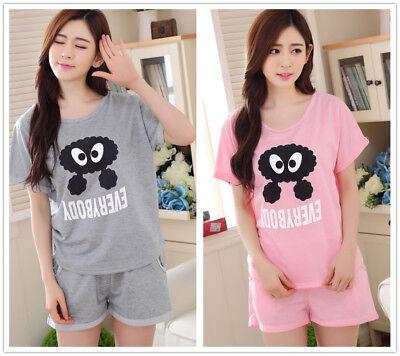 Hot Eyes Cotton Women Girl Sleepwear Pajama Set Nightwear Shirt & Shorts XL-2XL