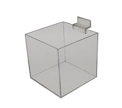 Jewelry Cube Riser 5 Sided Slatwall Counter Top Display Box 8x8x8
