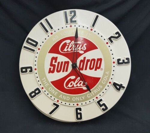 Vintage As You Like it Citrus Sun Drop Cola Large Round Wall Clock