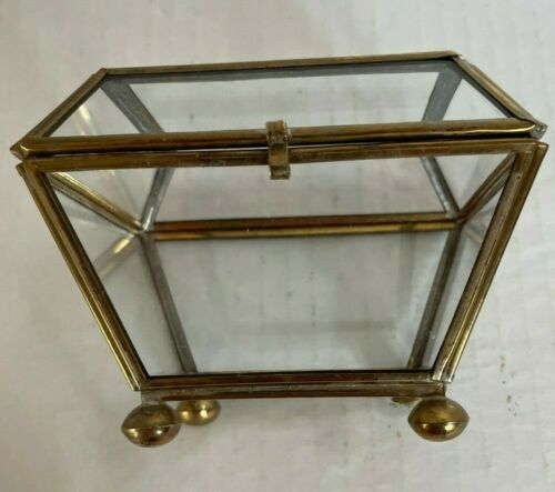 """3"""" Tall Brass and Glass Trinket Box Working Latch Hinges in Tact"""