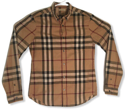 Burberry Brit Signature Nova Check Long Sleeve Button Down Men's Shirt Size M