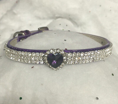 Sugarlicious Pets™  Purple HEART Rhinestone Dog Pet or Cat Safety Collar USA Purple Safety Cat Collar