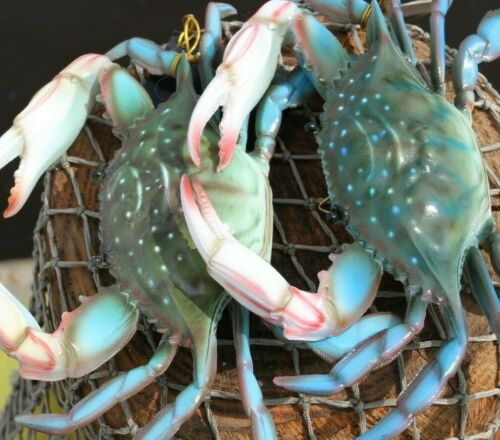 Seafood Restaurant Decor Large Blue Crab Replicas Ultra-realistic, 9 to 10 inch