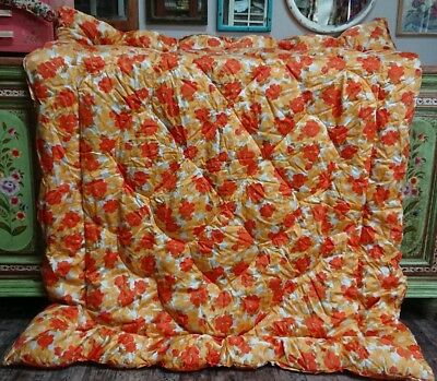 Retro 60s 70s orange floral vintage Pattern Eiderdown Quilt Bedspread Single