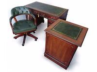 Workstation/Set: Pedestal Writing Office Desk + Filing Cabinet + Captains Chair
