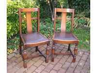 Two 1950s Vintage Retro Solid Oak Dining Chairs / Kitchen Chairs - can deliver