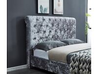 SLEIGH BED IN SILVER CRUSHED VELVET DOUBLE FRAME ONLY 180£, PM FOR MORE DETAILS