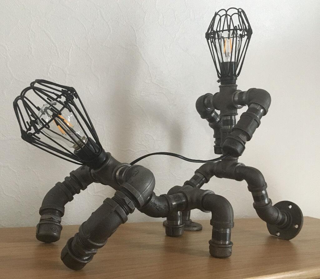 Bulldog walker pipe lamp steampunk pipepunk in for Industrial floor lamp gum tree
