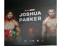 Anthony Joshua x 2 next to VIP block tickets Principality stadium tickets in hand Joshua vs Parker