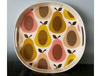 Orla Kiely Pear Candy Floss round melamine tray