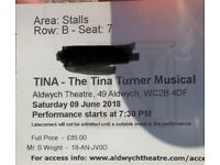 Promotion! The Tina Tuner Musical, row B Stalls, 150£ for 2 tickets (oryginal price 170£)