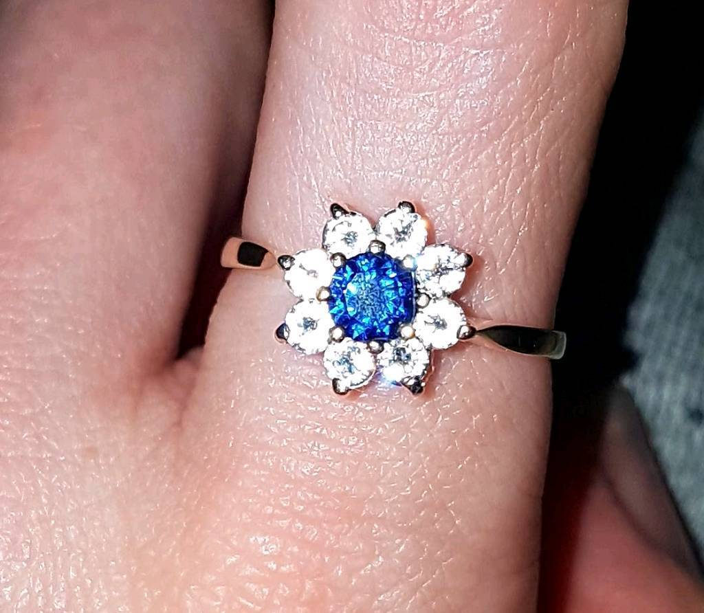 Vintage 9ct Yellow Gold Sapphire Cluster Ring N 1979 375 London ...