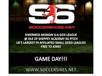 Join your local Sheerness Monday 6aside league TODAY!!