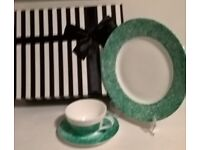"Hand Painted China ""One Of"" Turquoise Cup, Saucer and Plate Set with Gift Box"