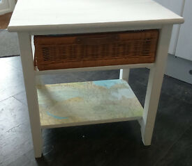 Side table with basket drawer - shabby chic