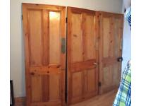 6 four panelled stripped and varnished Pine Doors with box locks and furniture