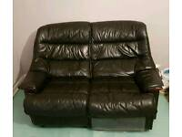 Black leather 2 seater with recliner, single chair and footstool