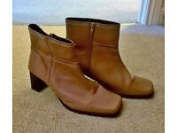 """* * * Women's Size 10 Camel coloured square toe Ankle Boots - 2.5"""" heels * * *"""