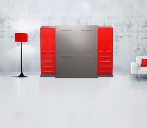 Cama Oculta Doble roja y gris en Thermoplastic