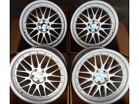 """18"""" SILVER ALLOY WHEELS STAGGERED 5X100 FITS VOLKSWAGEN VW BEETLE BORA VENTO"""