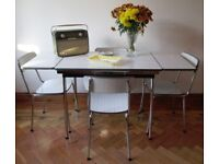 VINTAGE 1960's FORMICA DINING TABLE AND 4 CHAIRS, ATOMIC,