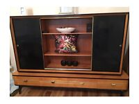 Mid-century 50s 60s retro maple wooden sideboard dresser cabinet bookcase with Art Deco features