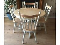 Solid Wood Round Dining Table With Four Chairs