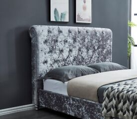 🔴 YES WE DO DELIVERY AND ASSEMBLY🏳️🌈 KING BED SILVER CRUSHED VELVET WITH MATTRESS ONLY 299 GBP🌈