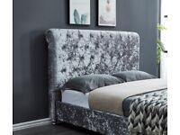 🔴🔵 PLUSH VELVET GREY/ SILVER CV INSTOCK DOUBLE BED FRAME W MATTRESS ONLY, 265 GBP