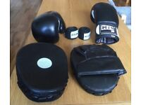 Boxing gloves, pads and wraps set - used once, looks new